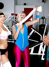 3 amazing hot milfs take control of their gym instructor tie him down tease his cock then get fucked doggy style in these hot masterbation and fucking hot milf pics and video