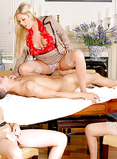 Amazing masterating  alana and her 3 smokin milfs invite their boy toy over to tease strip and fuck on the table in these hot pussy pounding strawberry covered cum fuck fest