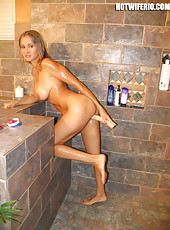 Rio posing in her bikini and then playing with a dildo in the shower