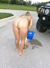 Rio stripping out of her tiny bikini while washing her Hummer