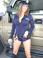 Rio dressed up as a sexy cop and busting a guy jerking off in his car