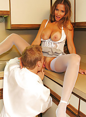Rio lets her husbands friend lift up her skirt and taste her sweet pussy