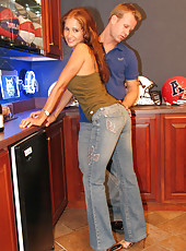 HotWifeRio in tight jeans sucking on a huge cock