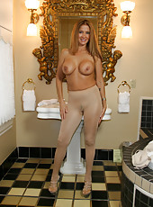 HotWifeRio in sexy nude pantyhose getting ready to give a blowjob