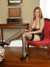 HotWifeRio plays with a young studs cock while wearing stockings and heels