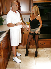 HotWifeRio pulls up her skirt and fucks the delivery man while he husband is away