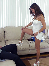 HotWifeRio tries on her new clothes for escorting then sucks on a big cock