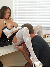 Rio gets a facial while she spreads her pussy and fucks herself with a big dildo