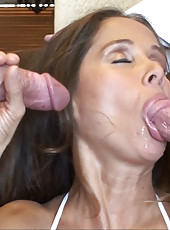 HotWifeRio pulls down her sexy white panties then sucks off two huge cocks