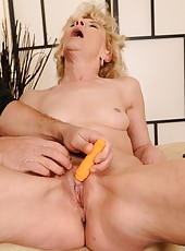 Horny granny Margarette fucking with a younger guy
