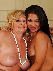 Granny having lesbian sex with her younger gf