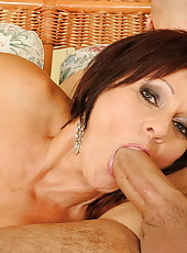 Horny granny Ann got load of hot sperm on her face