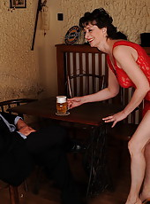 Old waitress serving her customer with hot fuck