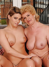 Fake titted granny teaching h lesbian girlfriend
