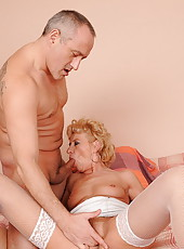 Hooker granny is fucking with a middle aged man