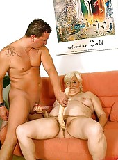 Retired fat cow gets hard dick into her hairy cunt