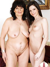 Sexy lesbo babe fucking with a much older granny