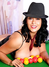 Danica strips to her stockings on the pool table