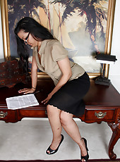 Petite and mature Julie Ann stops reading to give up spread shot