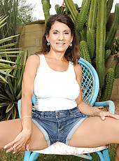 48 year old Tori Baker from AllOver30 showing off her pussy outdoors