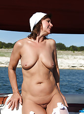53 year old housewife Lynn enjoying a naked boat ride for you to see
