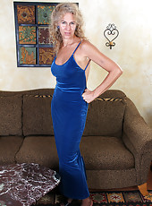 Horny and elegant 54 year old Sabrina P slide out of her blue dress