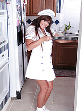 44 year old redheaded MILF Shauna gets cooking out in the kitchen