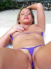 Busty babe with big clit outdoors