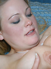 Plump blonde babe with a great rack spreads for cock