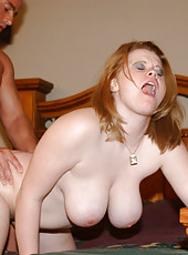 Redhead trailer park babe getting her tits carressed
