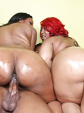 Lucky guy dipping his cock inside two phat black asses!