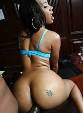 Hot black ass booty slut takes huge cock up her ass