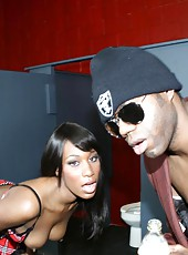 Curvy ebony Rane fucks a couple gangsters