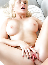 Luscious Blond Wife Has Perfect Shaved Pussy For Her Man