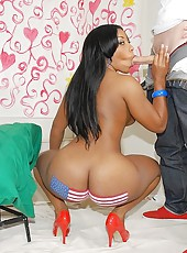 Hot ebony babe american flag on her ass juicy boucing tits and big round ass pounded hard