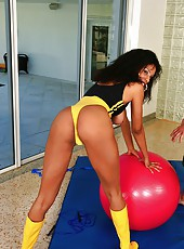Amazing super hot ebony work out babe get drilled hard on her work out ball in this super hot power fuck pic set