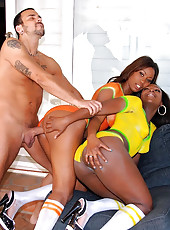 2 smoking hot ass big black tits body painted soccer babes get fucked in these hot 3some anal pussy cumfaced fucking pics