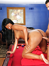 Hot horny big round ass black babe gets her juicy pussy fucked on the red pool table hot xxx hard fucking cumfaced pics