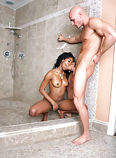 Amazing hot big black ass tia gets fucked super hard in the shower in these black ass loving pics