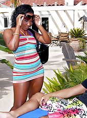 Super hot big perfect titty ebony babe gets fucked hard in her wet bikini in these hot fucking pics