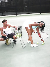 Big phat round booty babe nazar gets fucked by her tennis instructor after hitting a few bals