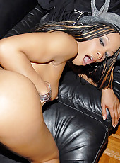 Watch hot ebony babe strip and get  her hot pussy pounded hard in these stripping audition fuck