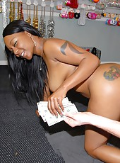 Beautiful black brown ass babe bounces on a white cock in these hot instore fucking clips
