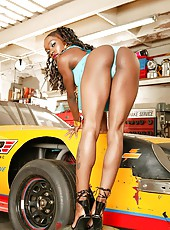 Amazing booty babes justice and candice bring in their car for a tune up then get their black boxes pounded hard in these hot 3some office fucking pics and big video