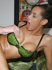 14 pics of hot black girl all oiled up and getting banged