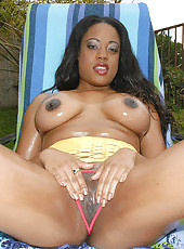 This hot round and brown babe is catchin her first on camera facial here in these hot photos