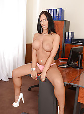 Busty Office Babe Fingers Her Pussy