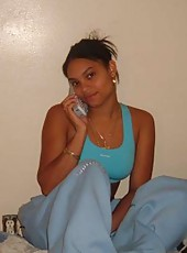 Ebony GF posing slutty in her room