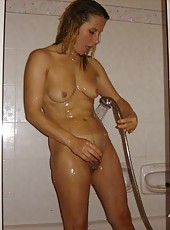 Photos of a sexy naked wife being a tease in the shower