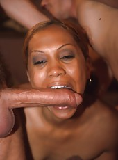 Ebony girl lives out a fantasy of fucking two white boys